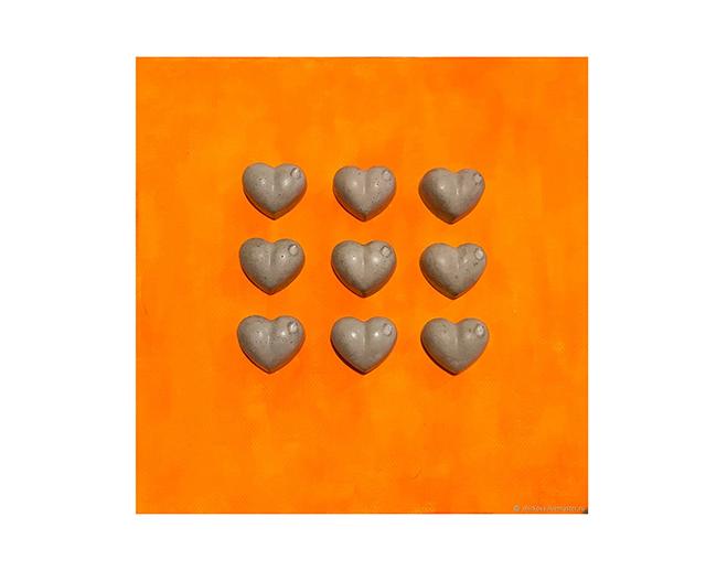 Настенное панно Сердца с бетоном